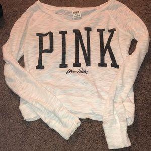 Victoria Secret Pink white logo neck shirt